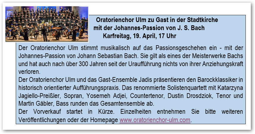 Johannes Passion April 2019